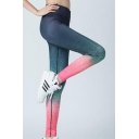 Elastic Waist Ombre Color Block Fashion Sports Bodybuilding Yoga Leggings