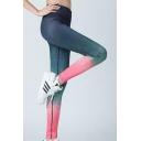Elastic Waist Ombre Color Block Fashion Sports Bodybuilding Yoga Leggings