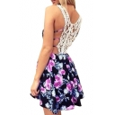 Fashion Lace Hollow Out Back Retro Floral Printed Mini Cami Dress