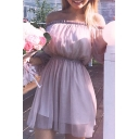 Summer's Off The Shoulder Long Sleeve Plain Mini Chiffon A-Line Dress