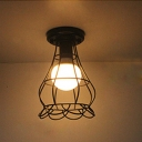 Industrial Flush Mount Ceiling Light with Flower Shade Metal Cage in Black