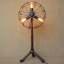 Industrial Floor Lamp 30 Inch High with Fan Shade in Heritage Bronze