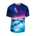 New Fashion 3D Galaxy Printed Round Neck Short Sleeve Pullover T-Shirt