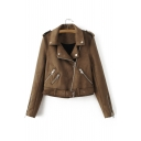 New Fashion Notched Lapel Collar Long Sleeve Zips Design Suede Plain Coat