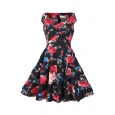 Vintage Floral Printed V Neck Sleeveless Oversize Midi A-Line Flared Dress