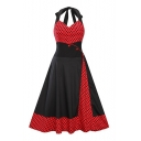 New Arrival Retro Halter Neck Sleeveless Polka Dot Color Block Midi Flared Dress