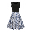 Scoop Neck Sleeveless Color Block Chic Floral Printed Midi Flared Dress