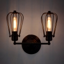 Rustic Two Upward Lighted LED Wall Sconce in Cage Style