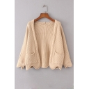 Fashion Wave Hem Open Front Long Sleeve Simple Plain Cardigan