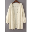 New Fashion Hollow Out Open Front Long Sleeve Plain Knit Cardigan