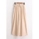 High Rise Elastic Waist Retro Plain Loose Linen Wide Legs Culottes