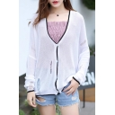 New Trendy Color Block Buttons Down Long Sleeve Ripped Sun-Proof Cardigan