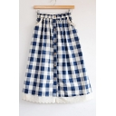 Retro Plaids Printed Chic Lace Inserted Hem Elastic Waist Buttons Down Midi A-Line Skirt