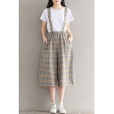 Classic Plaids Pattern Summer's Loose Wide Legs Capris Overall Linen Pants