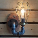 Industrial Retro Wall Sconce in Black Finish, 8.6'' Height Uplighting