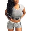 Hot Fashion Cropped Round Neck Short Sleeve Slim Tee with Sports Shorts