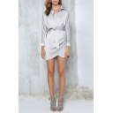 Long Sleeve Lapel Collar Tie Waist Chic Satin Mini Plain Wrap Dress
