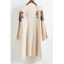 Symmetrical Floral Embroidered Long Sleeve Open Front Comfort Knit Cardigan