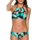 Holiday Beach Summer's Leaves Pattern Halter Neck Sleeveless Swimwear