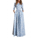 Hot Fashion Round Neck 3/4 Sleeve Floral Printed Maxi Flared Dress