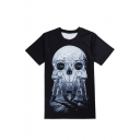 Hot Fashion Space Astronaut Skull Pattern Round Neck Short Sleeve Casual T-Shirt