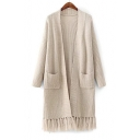 Simple Plain Open Front Long Sleeve Longline Tassel Hem Cardigan with Double Pockets
