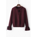 New Arrival Ribbons Tie Embellished Round Neck Long Sleeve Flared Cuff Sweater