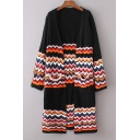Wave Striped Color Block Long Sleeve Open Front Longline Cardigan