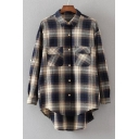 Classic Plaids Pattern Lapel Collar Long Sleeve Dipped Hem Cotton Buttons Down Shirt