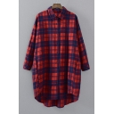 Loose Lapel Single Breasted Plaid Color Block Tunic Shirt
