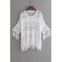 New Arrival Fashion Tassel Trim Half Sleeve Round Neck Hollow Plain Sweater