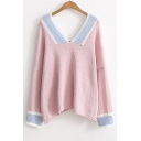 New Fashion Color Block V Neck Long Sleeve Casual Loose Pullover Sweater