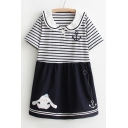 Cartoon Rabbit Toy Printed Peter-Pan Collar Short Sleeve Color Block Mini Smock Dress