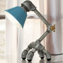 Industrial Robot Table Lamp with Blue Cone Shade in Silver Finish