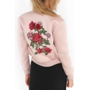 Chic Floral Rose Embroidered Back Stand-Up Collar Long Sleeve Zip Up Jacket