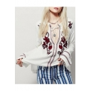 Chic Floral Embroidered Round Neck Long Sleeve Loose Peasant Blouse
