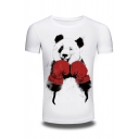 New Stylish Cartoon Box Panda Pattern Round Neck Short Sleeve Pullover T-Shirt