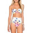 New Arrival Pattern Halter Neck Top High Waist Lace-Up Side Bottom Swimwear