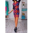 New Arrival Round Neck Half Sleeve Geometric Pattern Mini Bodycon Dress