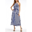 Hot Fashion Striped Printed Halter Neck Sleeveless Maxi Beach Dress