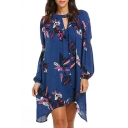 Classic Floral Printed Round Neck Lantern Long Sleeve Oversize Asymmetrical Dress