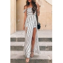 Hot Fashion Classic Striped Printed Off The Shoulder Slit Asymmetrical Dress