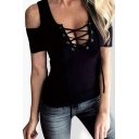 Hot Fashion Sexy Lace-Up Hollow Front Scoop Neck Cold Shoulder Plain T-Shirt