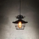 Industrial Hanging Lantern with Wire Net Metal Cage in Black for Barn