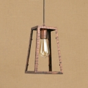Industrial Single Pendant Light with Novelty Lantern Wire Metal Cage in Rust for Indoor Lighting