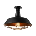 14'' Wide Black LED Ceiling Light in Barn Style