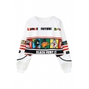 Cartoon Character Printed Round Neck Long Sleeve Chic Pullover Cropped Sweatshirt