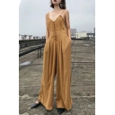 New Stylish Simple Plain Spaghetti Straps Plunge Neck Plain Wide Legs Jumpsuits
