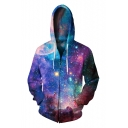 New Arrival Fashion 3D Galaxy Pattern Unisex Long Sleeve Zip Up Hoodie