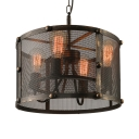 Retro Black Finished Four Light Pendant Chandelier in Drum Shape